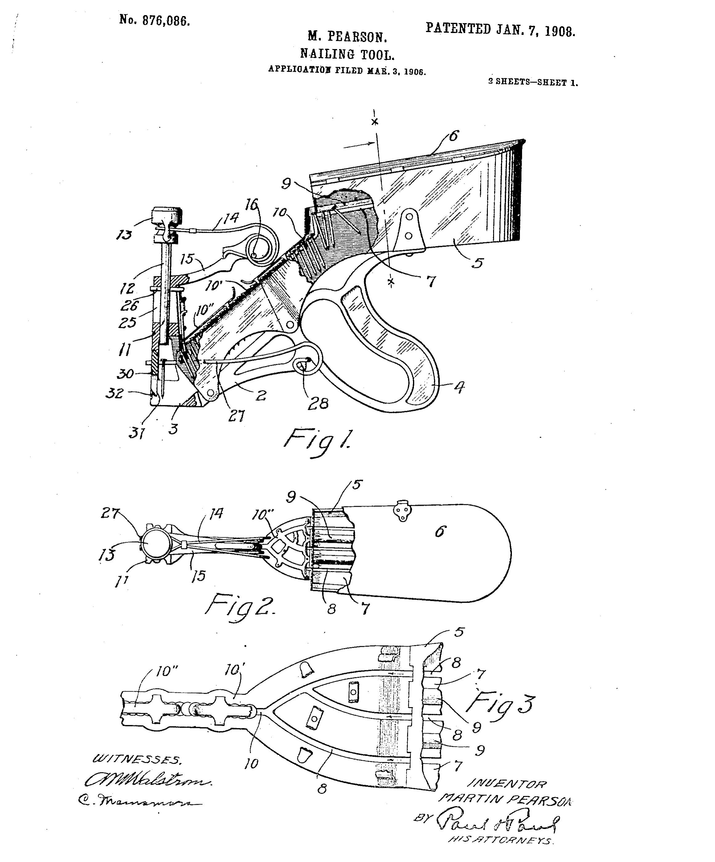 Pearson's Nailer Patent Image circa 1906