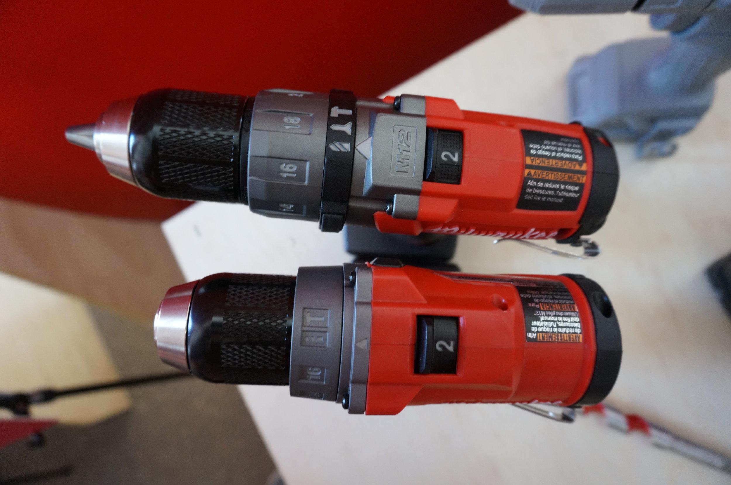 Gen 2 Hammer Drill (bottom) and Gen 1 (top)