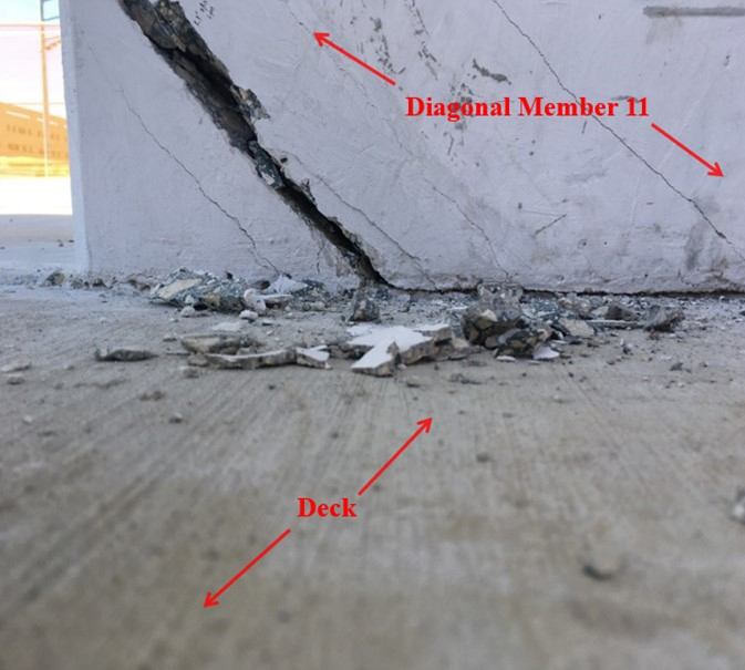 NTSB description: Location: Bottom of diagonal member 11 east face, looking to the west. Time stamp: March 13, 2018, at 1:29:15 p.m., labels added by the NTSB. (Source: Munilla Construction Management)