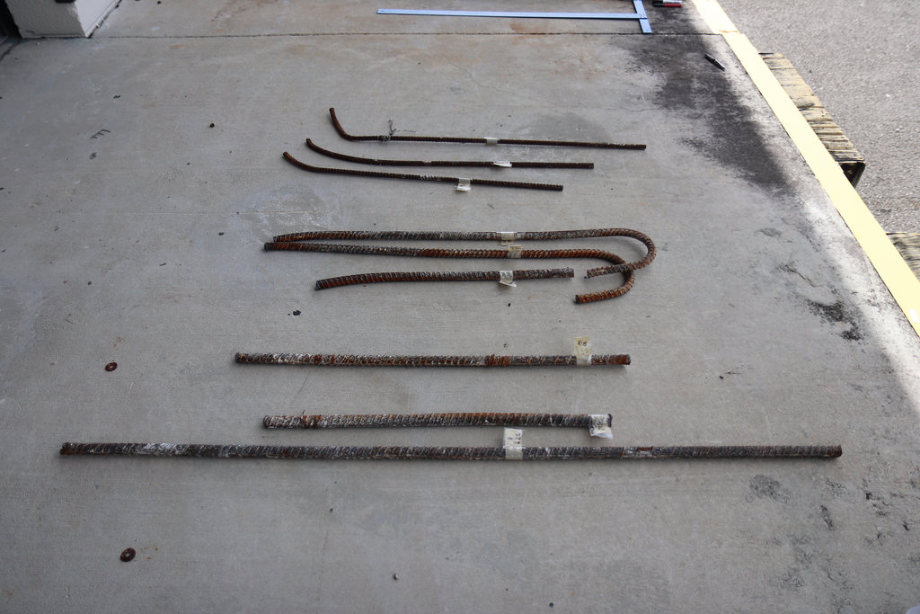 samples of rebar recovered from the collapsed FIU pedestrian bridge, await transport to the Federal Highway Administration's Turner-Fairbanks Highway Research Center, where the samples underwent materials testing as part of the NTSB's ongoing investigation of the March 15, 2018, fatal, bridge collapse