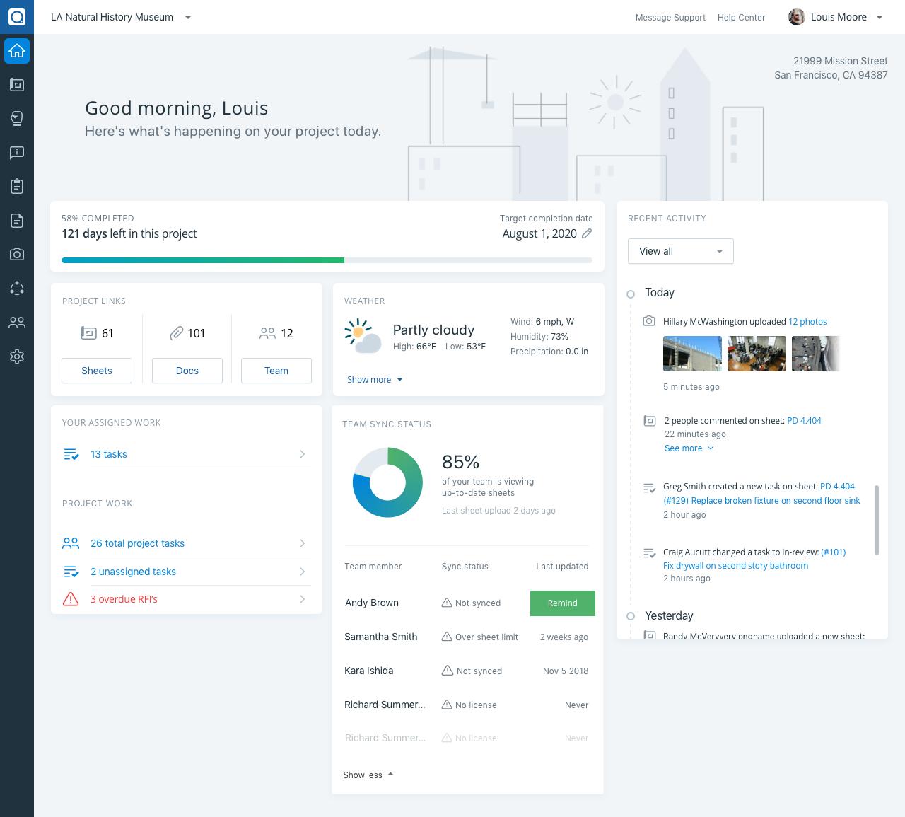 Project Hub Screenshot via PlanGrid