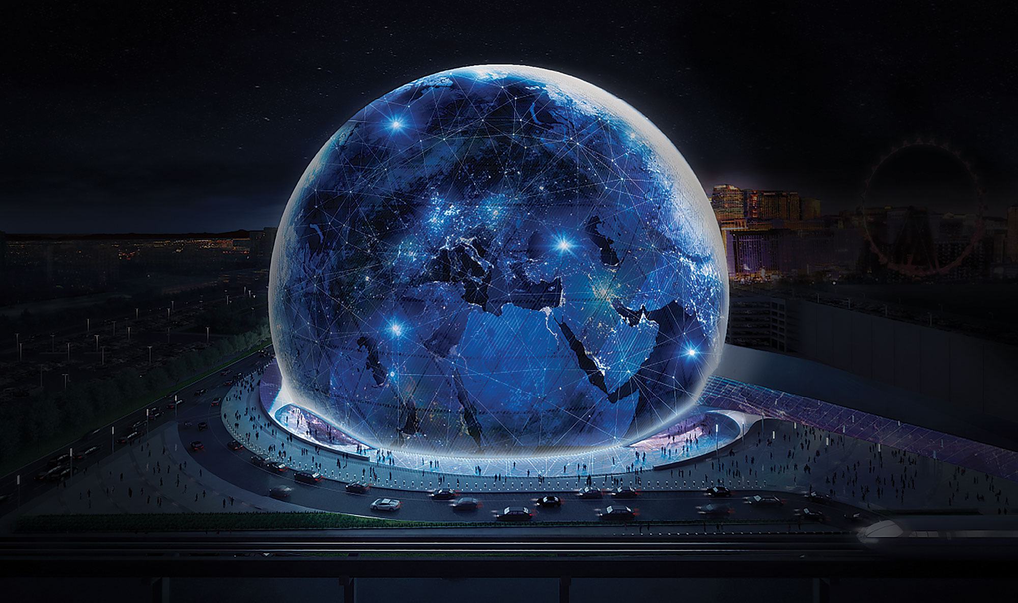 Exterior rendering of the MSG Sphere, via MSG