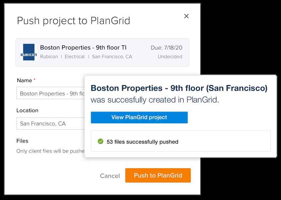 "Screenshot of BuildingConnected's ""Push to PlanGrid"" feature (via PlanGrid)"