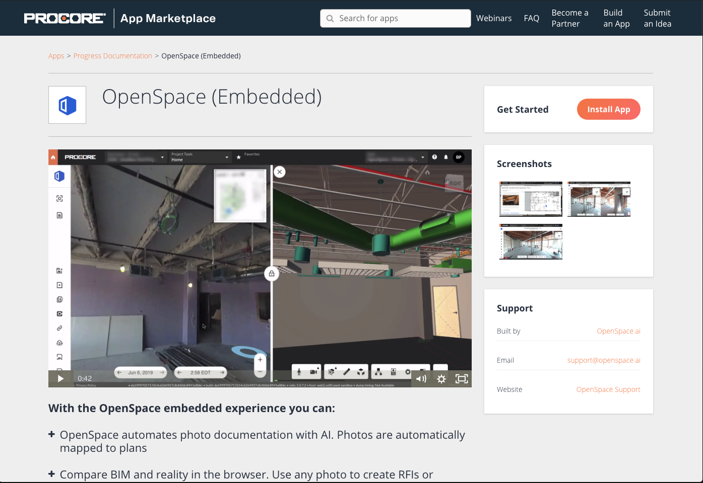 screenshot of OpenSpace embedded into Procore (via Procore)