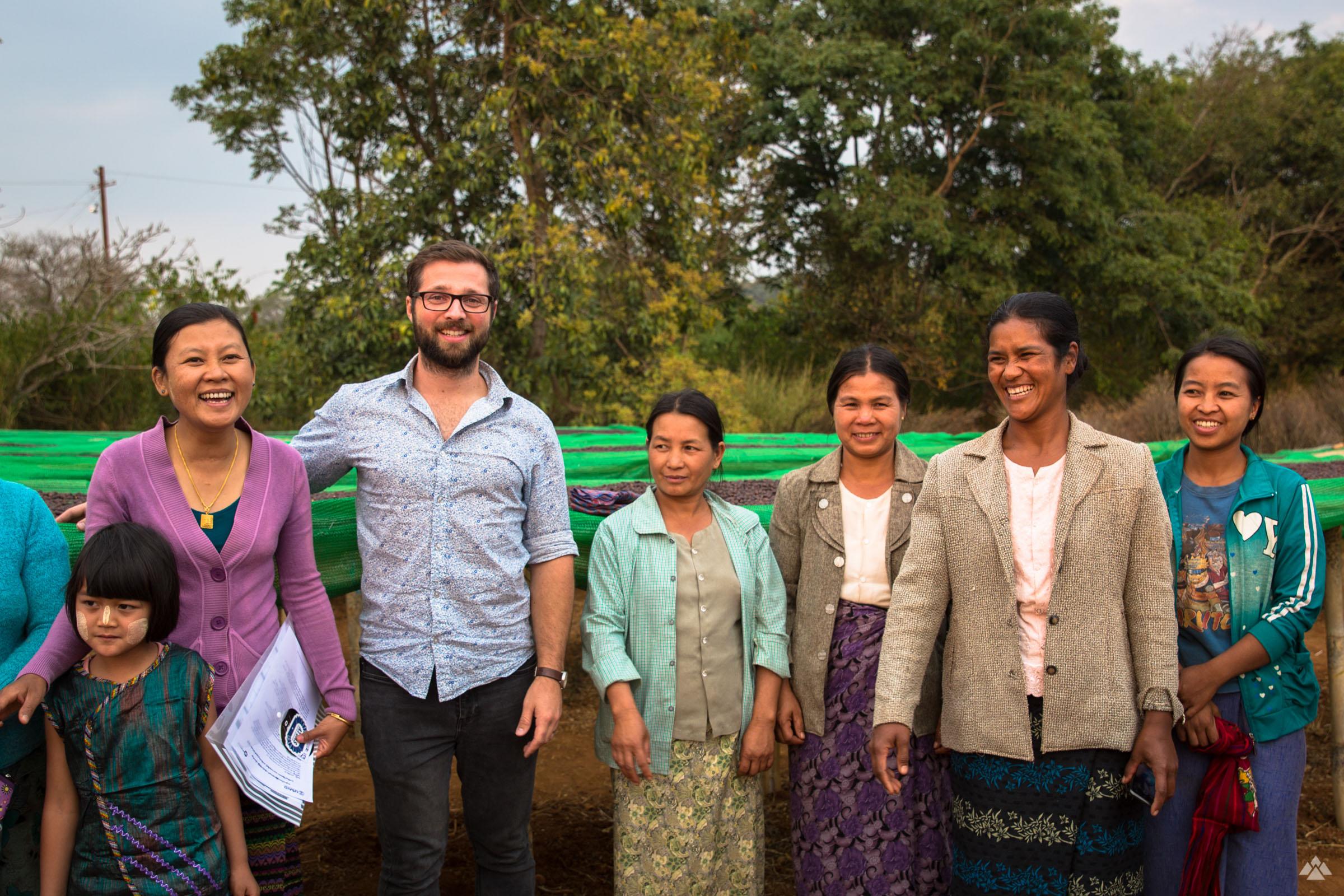 Matt with Su Su Aung and members of her team, the Ywangan Amayar Women's Coffee Group in 2016.