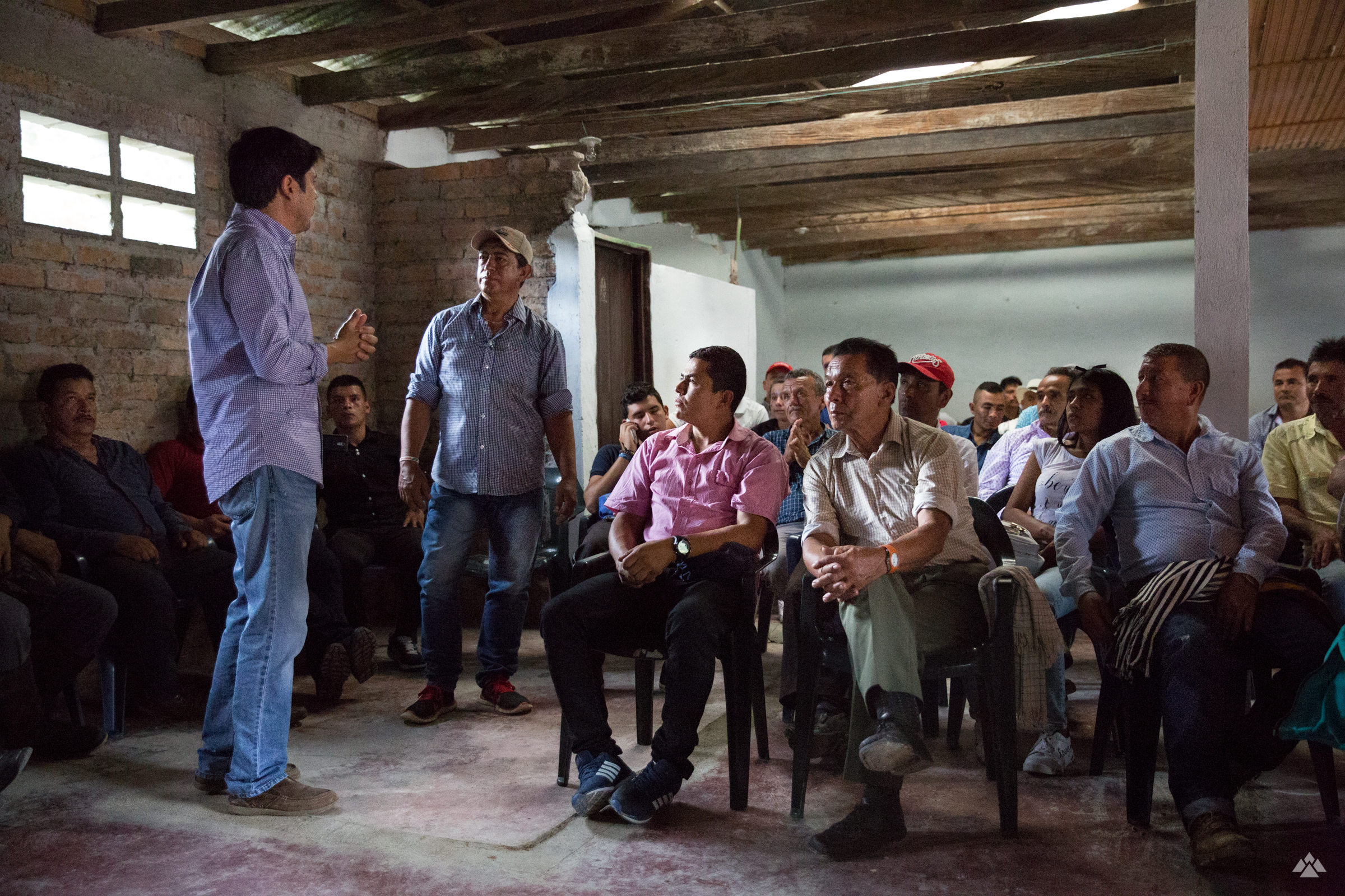 Meeting with producers and roasters, introduced by Juan Felipe, centre