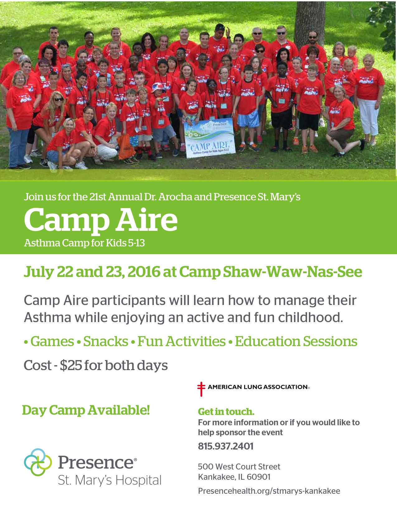 Sponsorship was provided to CampAire for students to attend asthma camp in 2015 and 2016.