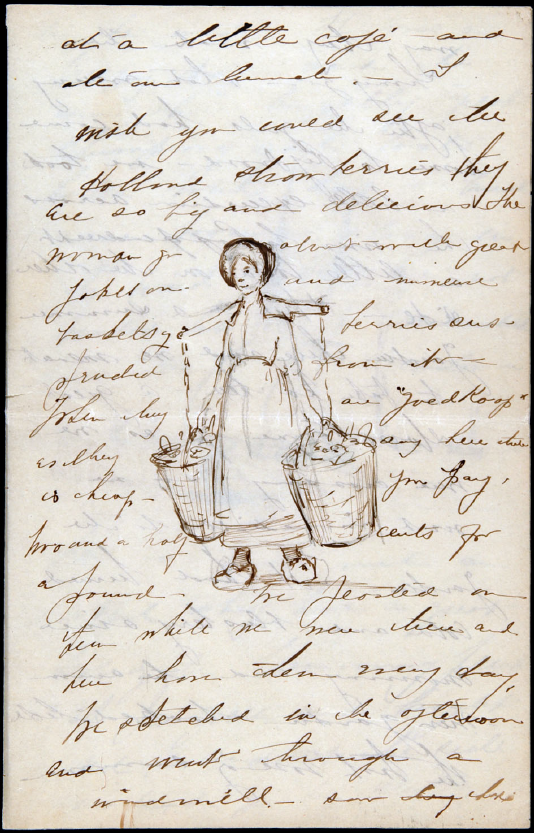 "Page from a letter postmarked July 2, 1888 to Anna's parents, includes a sketch for later oil painting ""Dutch Milk Maid"""