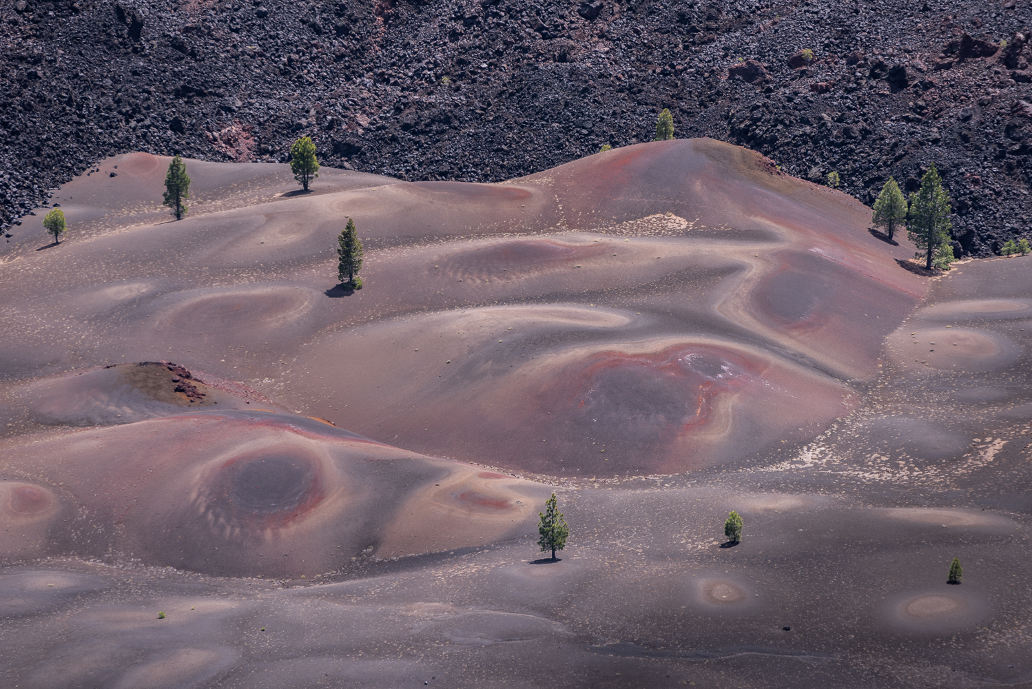 The Painted Dunes and the Fantastic Lava Beds as seen from the top of Cinder Cone, Lassen Volcanic National Park.