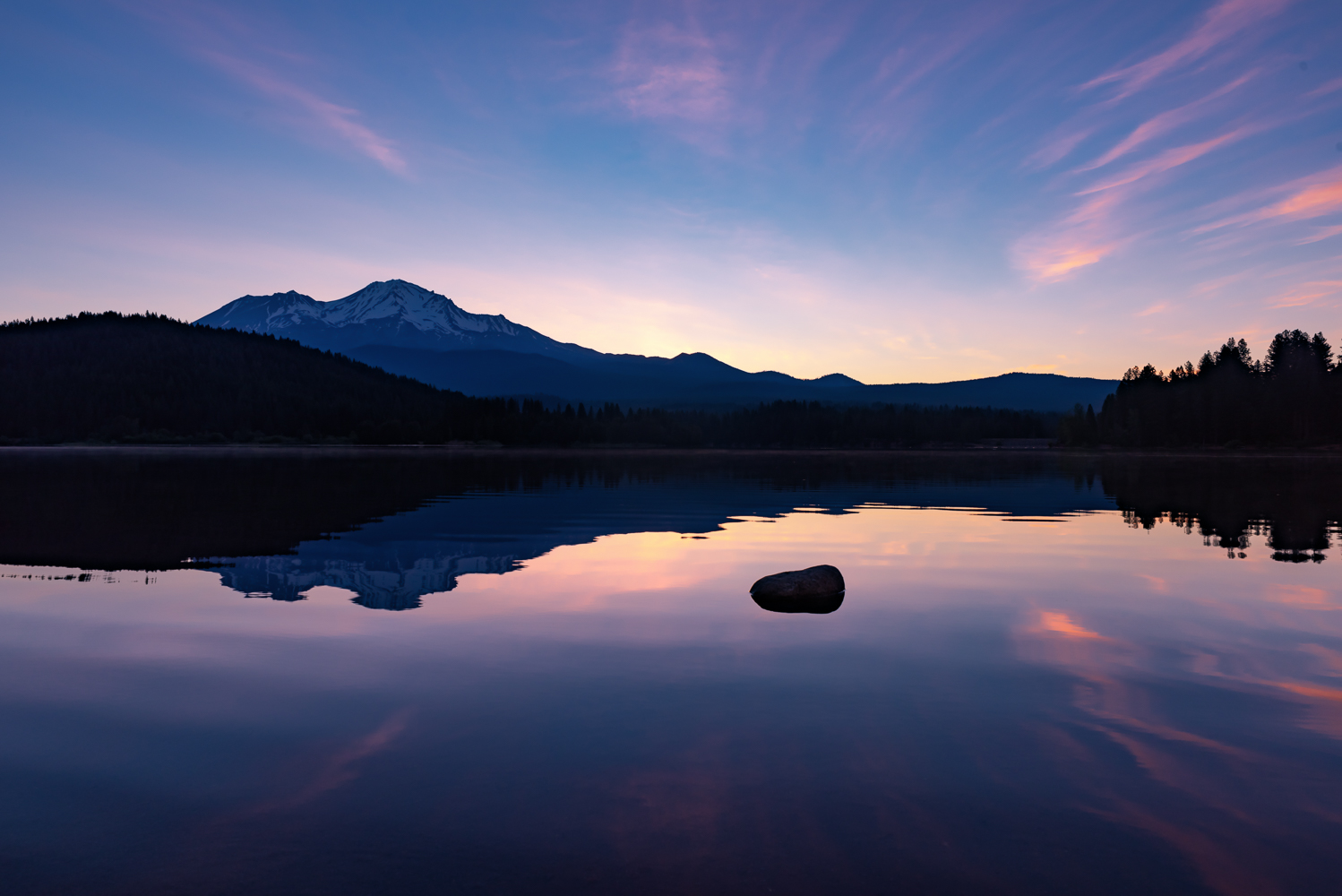 A perfect morning at Lake Siskiyou enabled me to shoot my version of an iconic scene.