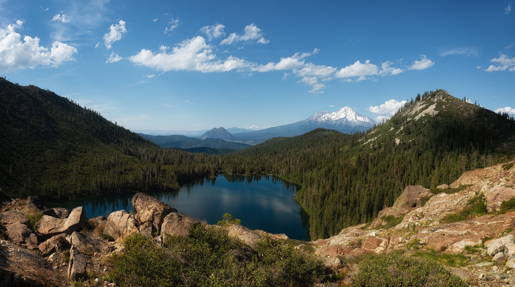 What a view: inside the Castle Crags Wilderness overloking Castle Lake towards Mt. Shasta and Black Butte.