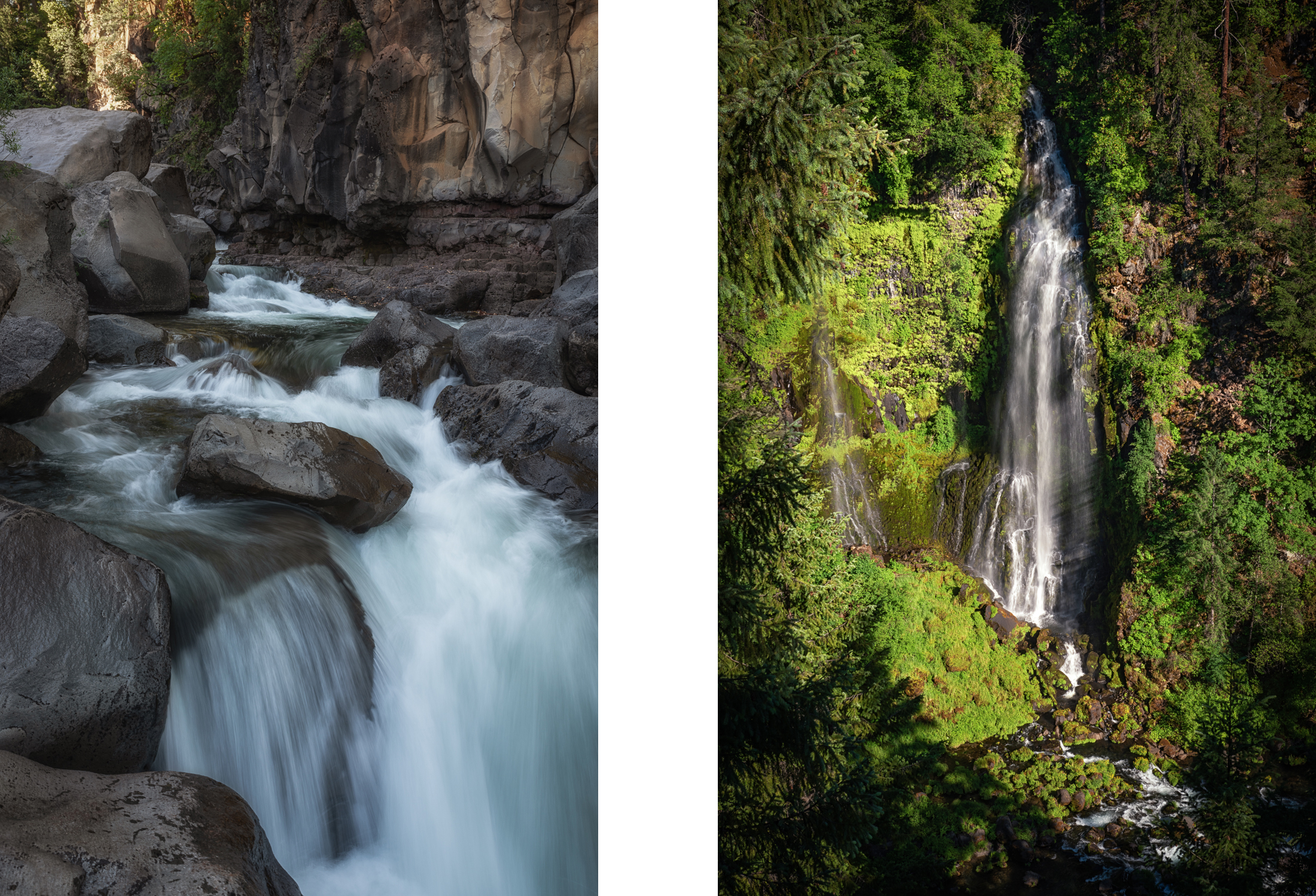Rogue River Rapids and Barr Creek Falls in warm yet challenging light