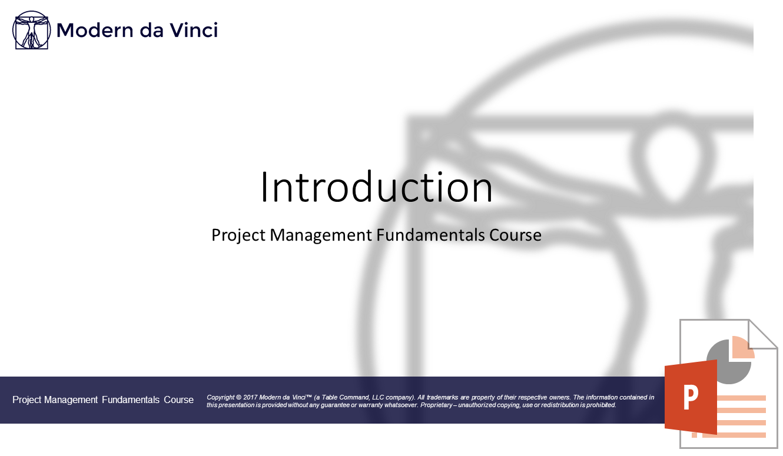 Introduction Slides - Project Management Fundamentals Course