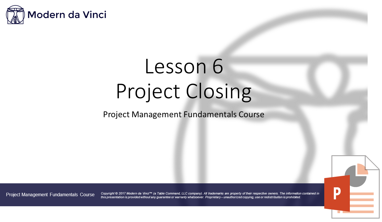 Project Closing Slides - Project Management Fundamentals Course