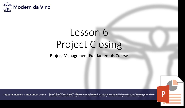 Project Closing Slides - Project Management Fundamentals Course