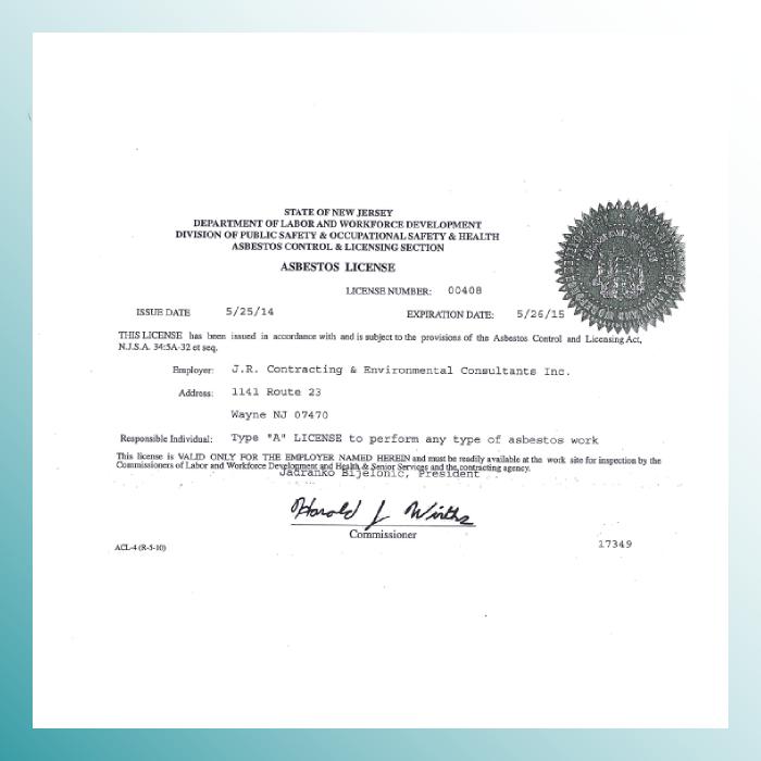 New Jersey DOL Asbestos License
