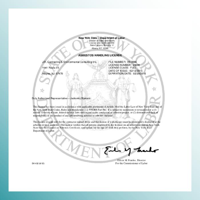 New York State DOL Asbestos License