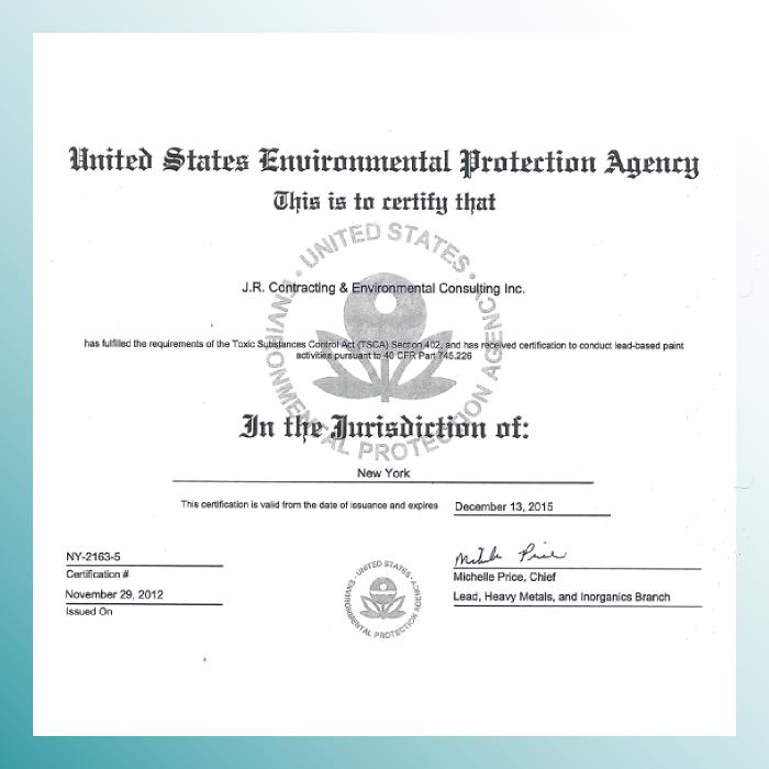 US EPA - New York Lead Certification