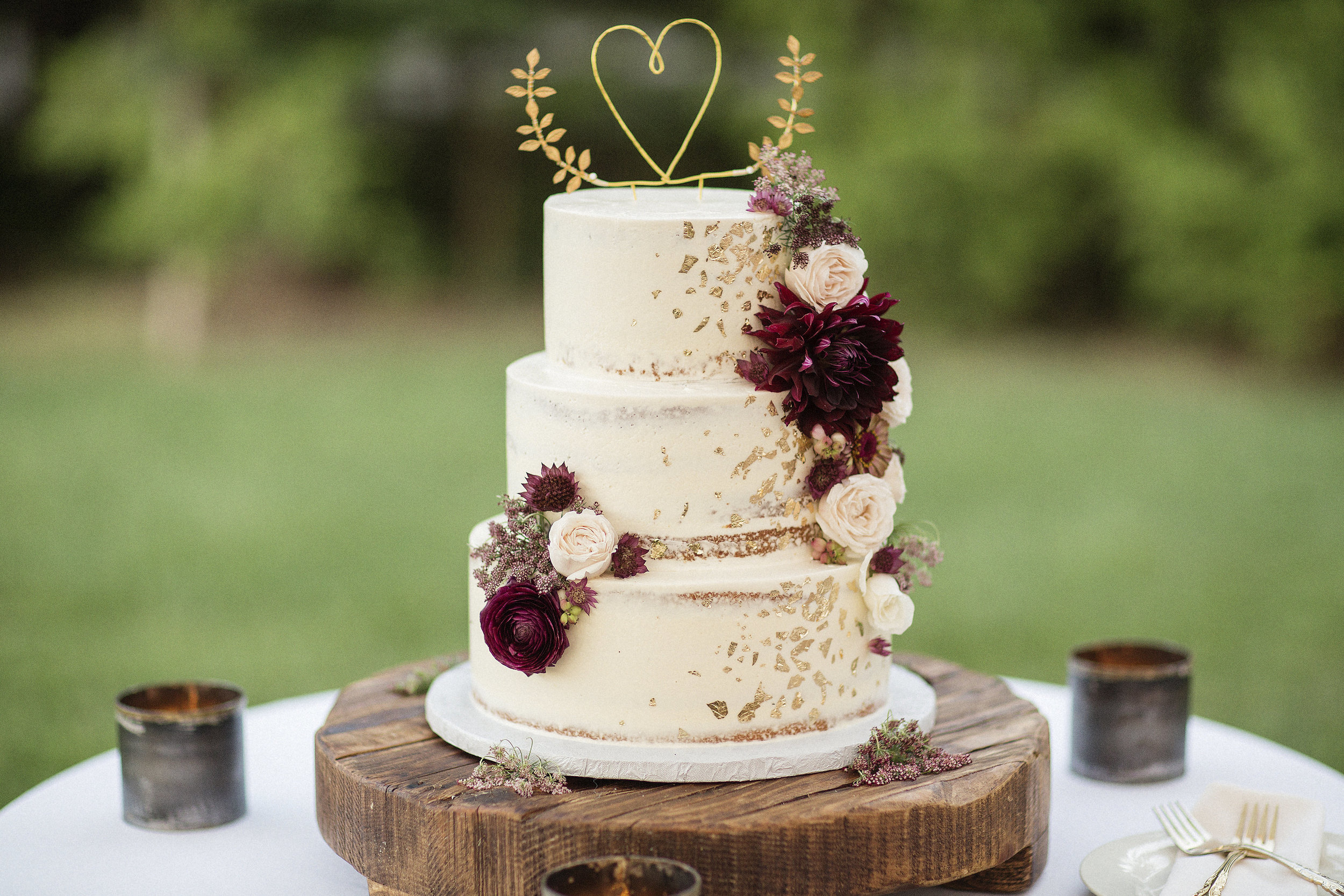 Gold and Burgundy Cake, The Farmers Daughter