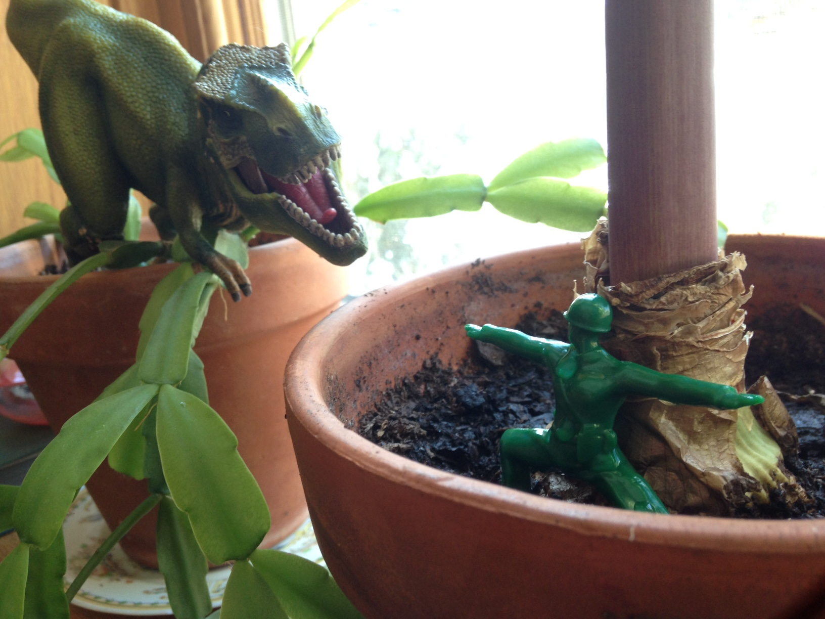 Yoga Joes can defeat dinosaurs with yoga zen power.