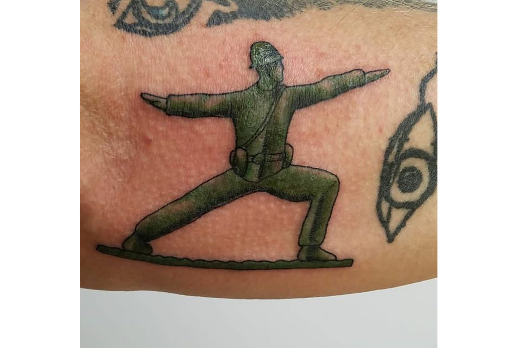 From the arm of a Jeff Sargent, an Army Veteran I met on Instagram. He's a huge advocate of yoga for Veterans with Post Traumatic Stress, and he ended up being an advisor to our storyline.