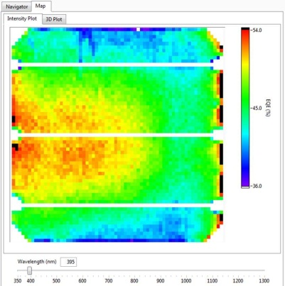 Mapper   generates 3-D maps of EQE, R and IQE at each wavelength, as well as a Jsc map that is calculated from each EQE spectrum in real time.