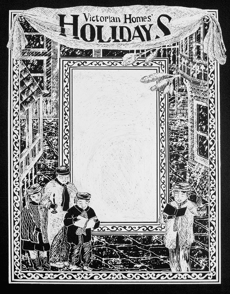 Victorian Homes Holiday Cover   Black scratchboard drawing