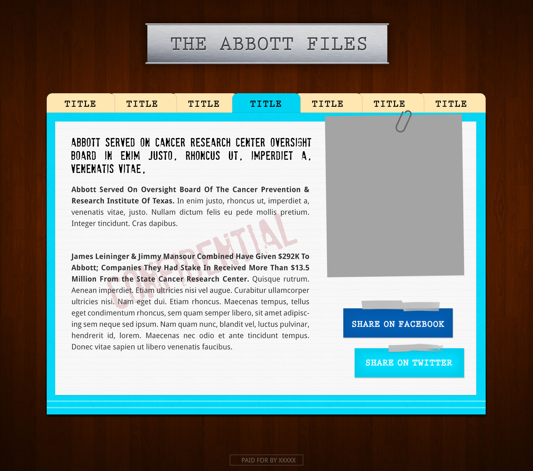 Abbot Files microsite - Wendy Davis for TX Governor