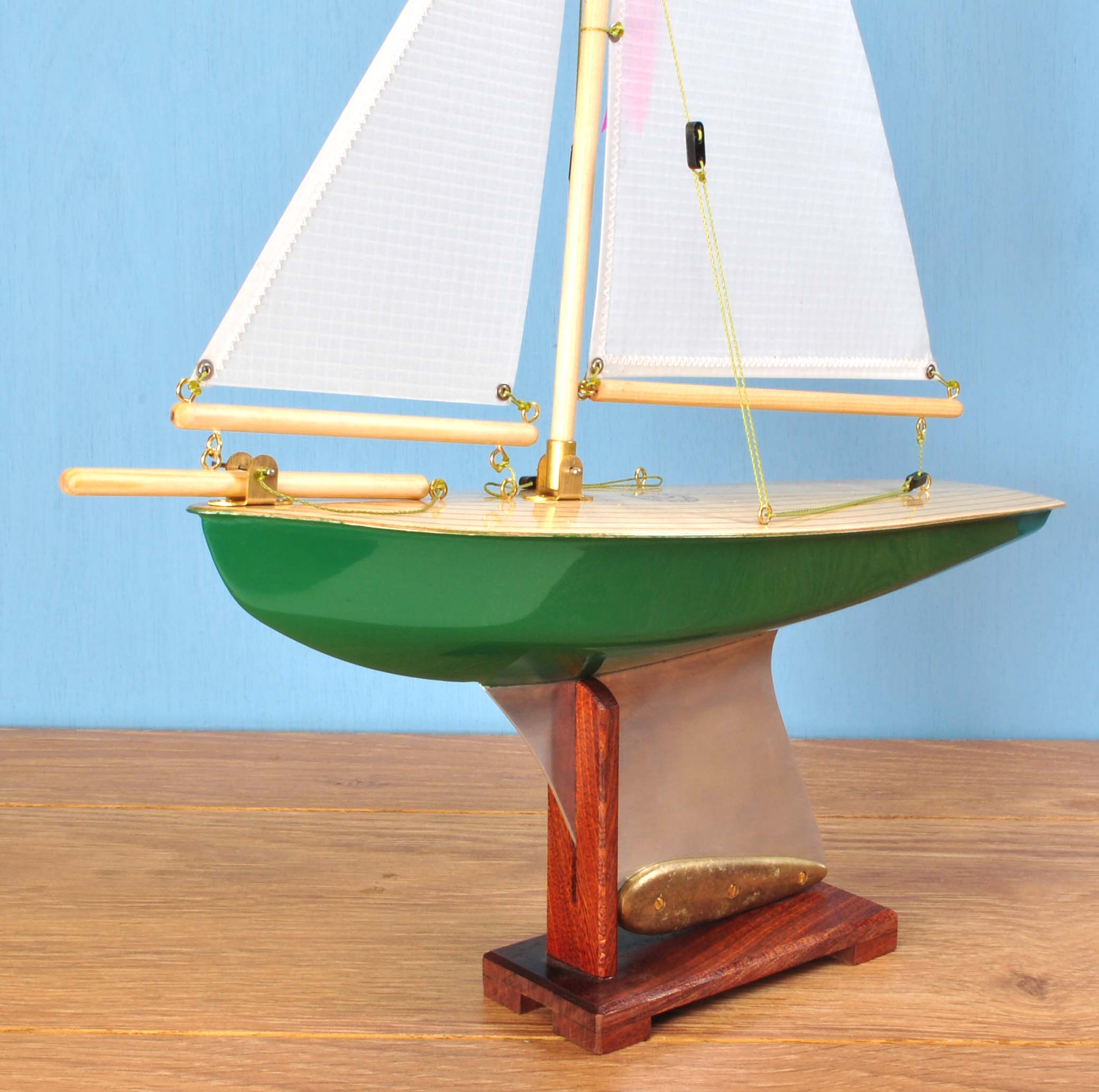 "Out of Stock  ""Grace""   Painted hull, light birch deck, spinnaker cloth sails"