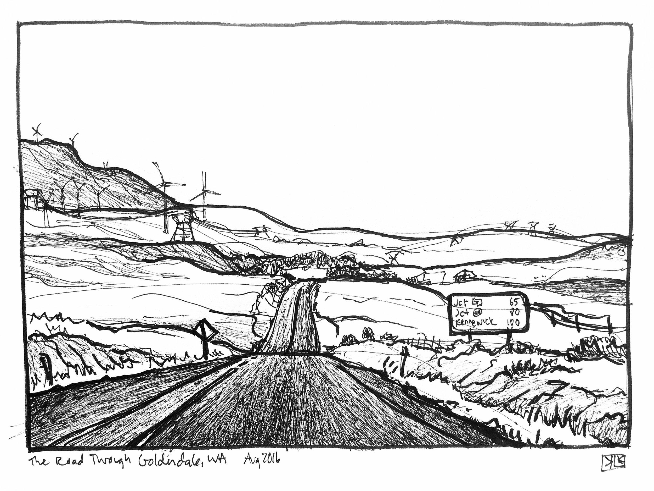 Driving through Maryhill, sketch