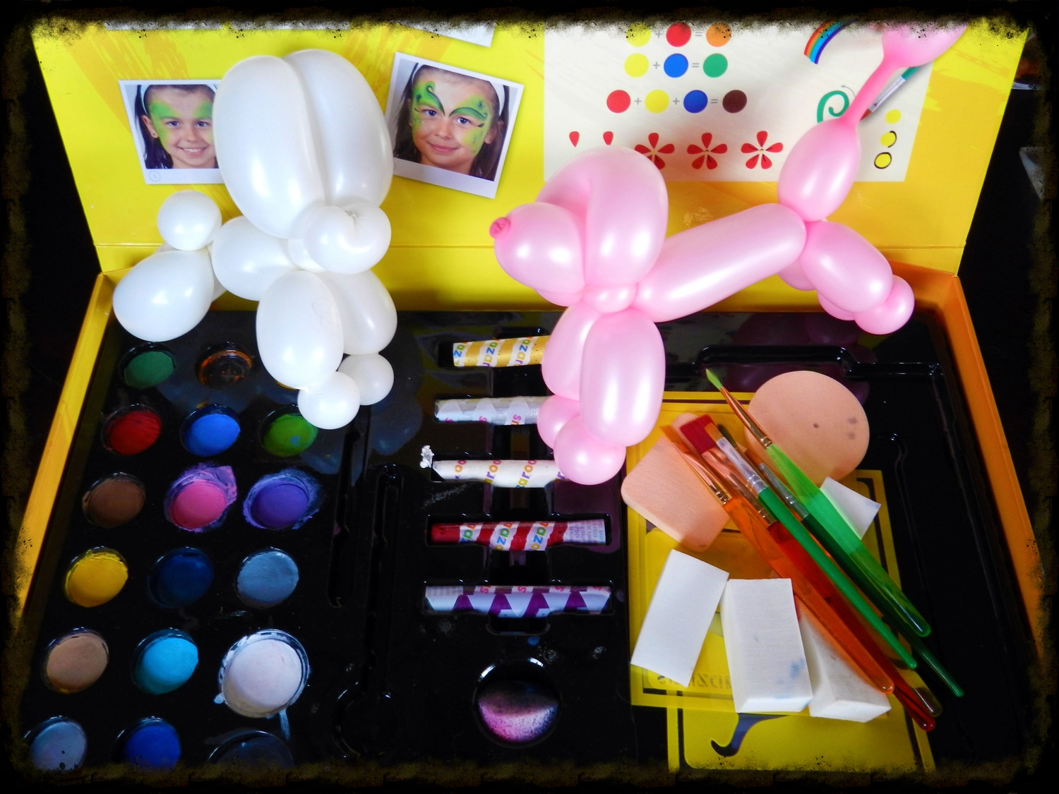 My face paint setup and some balloon friends