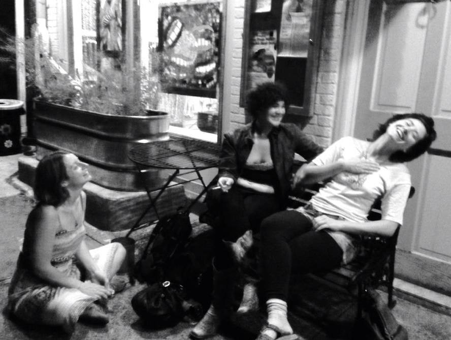 A fuzzy old photo of me teasing my long-time best friends & coven-mates, Annie Fox Derek and Crystal Woodling.