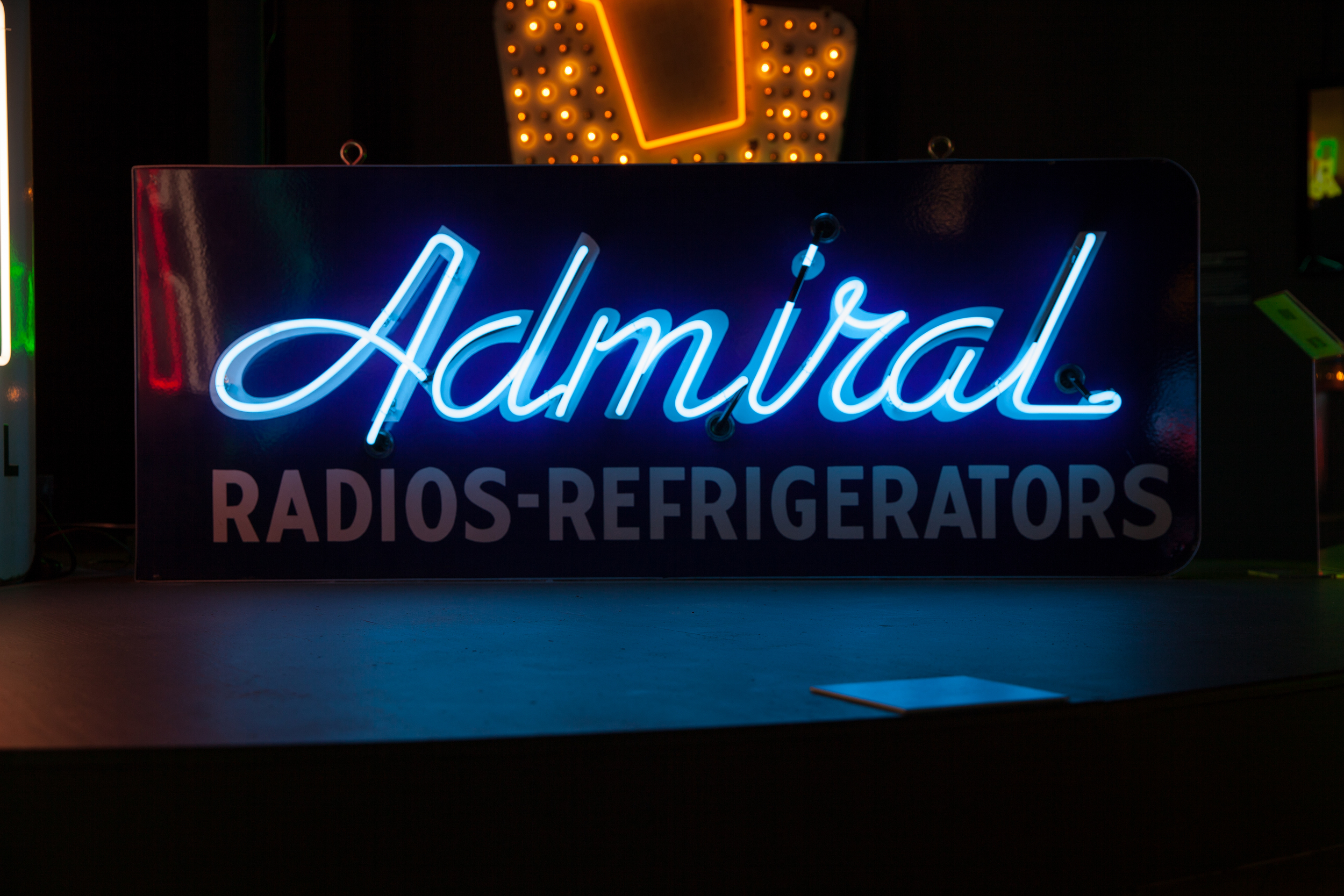 Admiral Radios and Refrigerators Porcelain Enamel and Neon Sign.