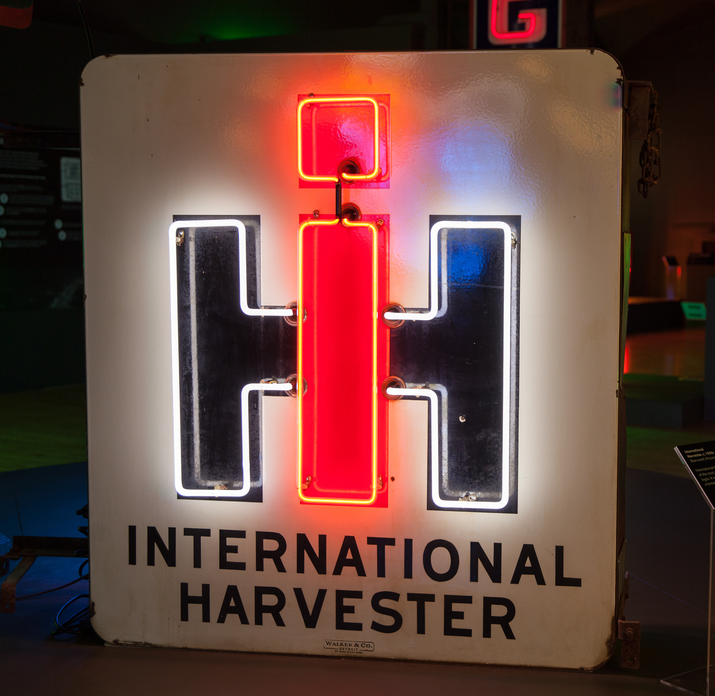 International Harvester Porcelain Enamel and Neon Sign.