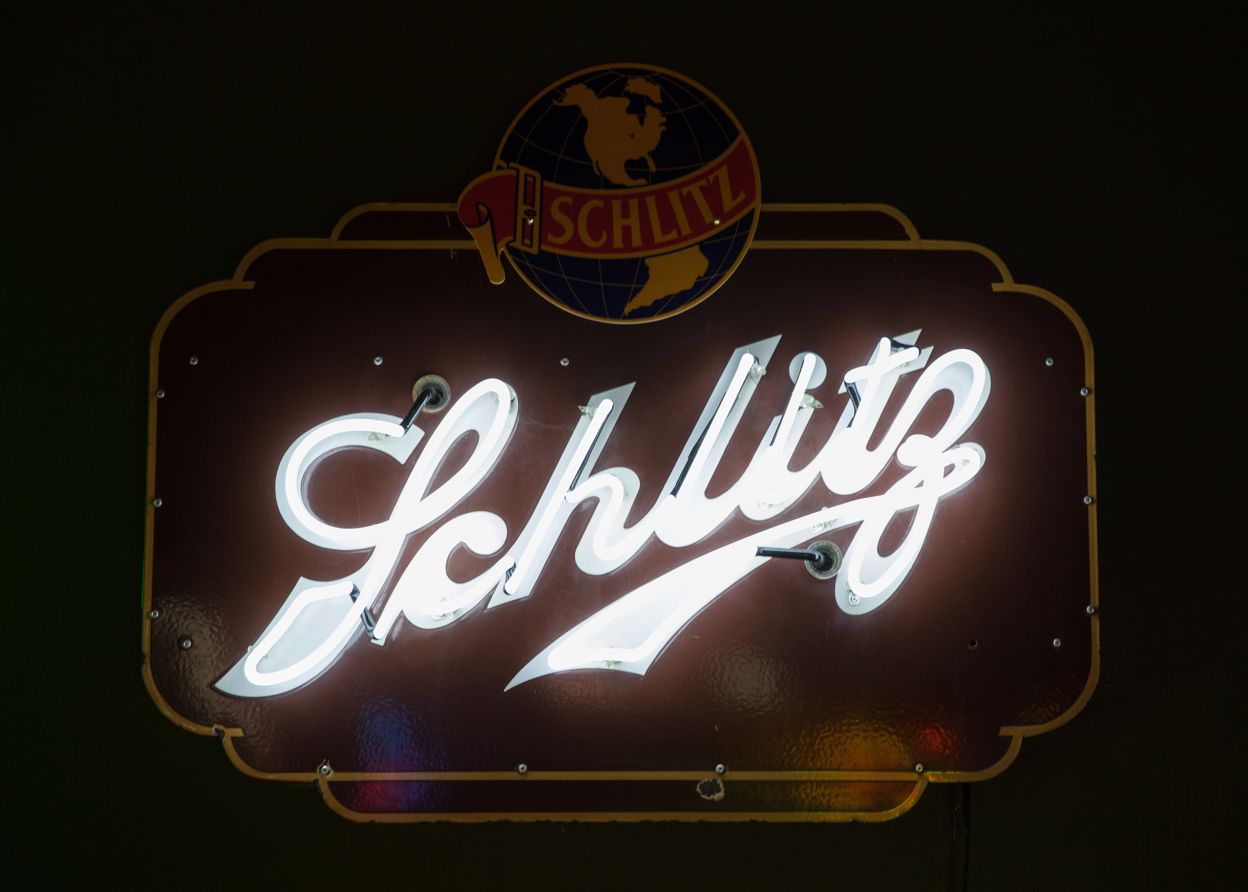 Schlitz Beer Neon and Porcelain Enamel Sign