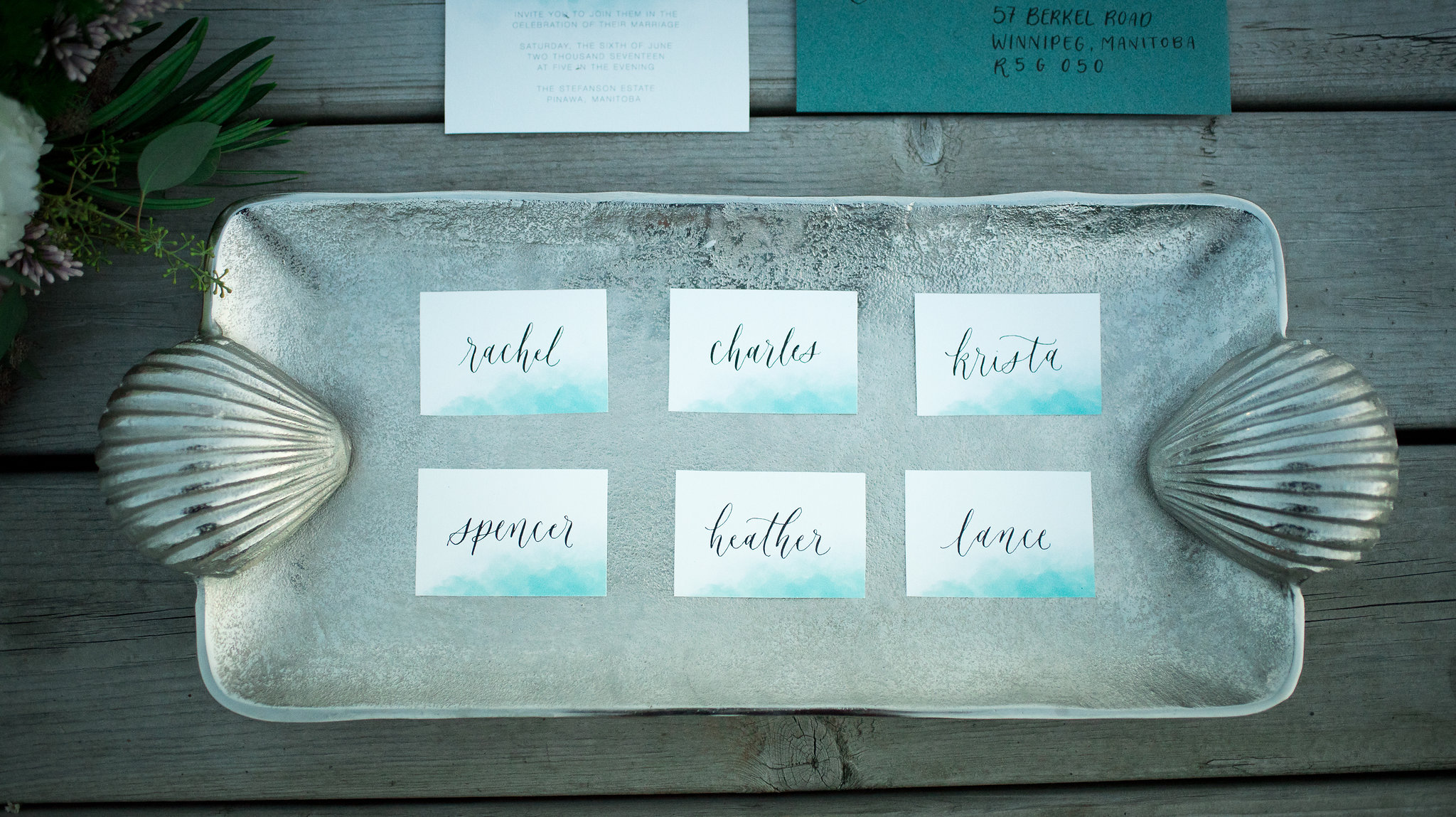 Mermaid inspired wedding styled shoot inspiration - calligraphy and stationery by Jennifer Bianca Calligraphy