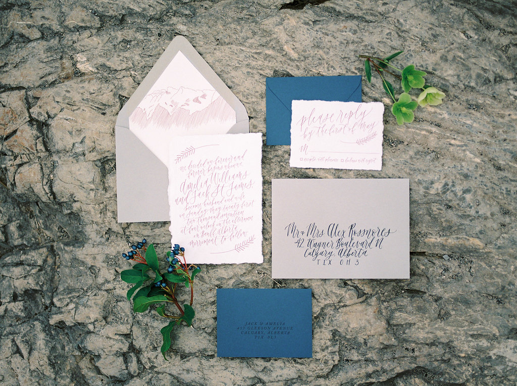 Lake Minnewanka - styled wedding shoot in Banff, Alberta with Jennifer Bianca Calligraphy and photography by Esther Funk Photography