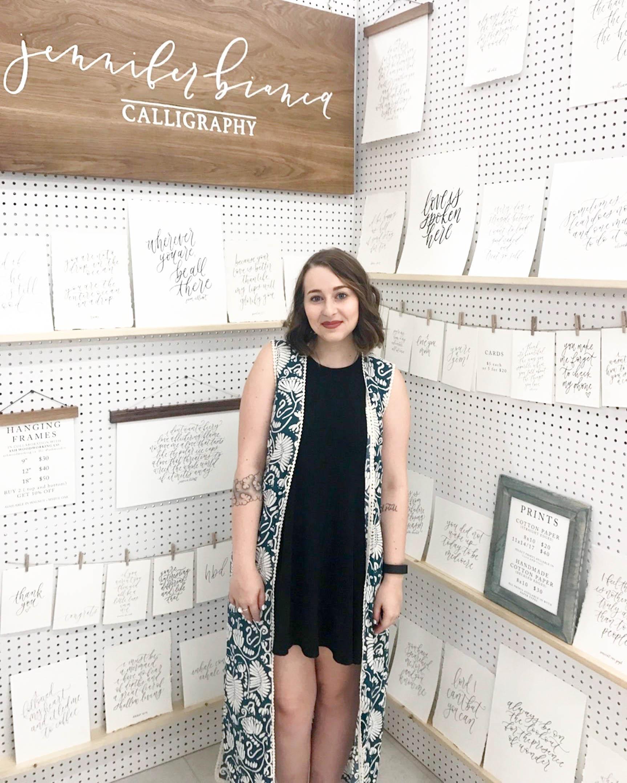 Jennifer Bianca Calligraphy at Third + Bird Spring Market 2017