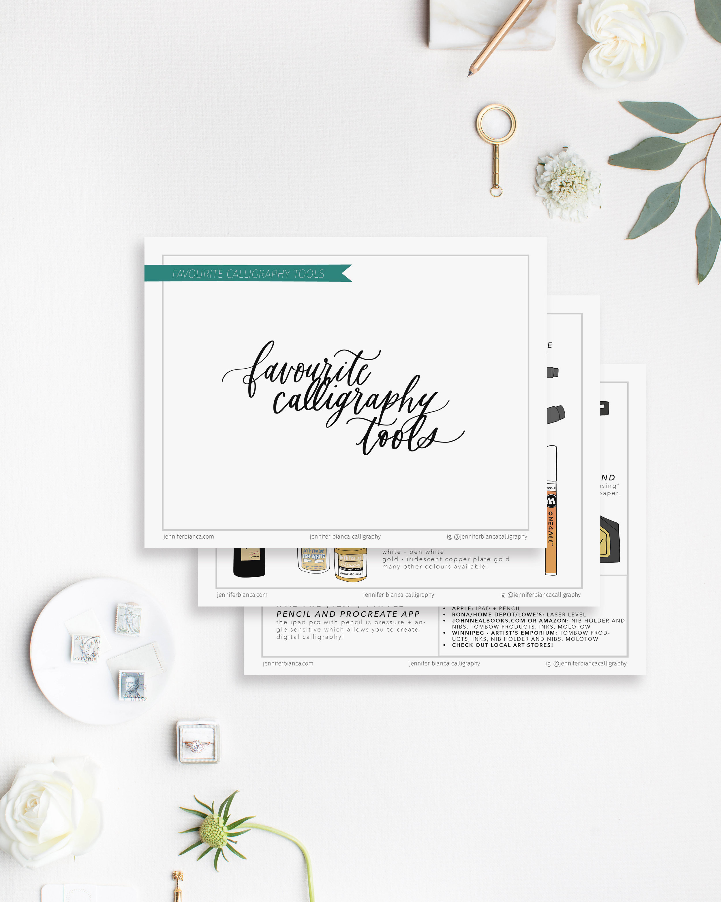 Favourite Calligraphy Pens and Tools by jenniferbianca.com