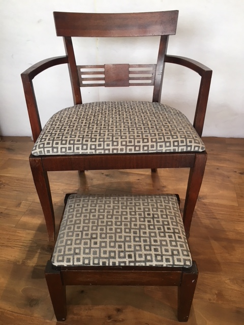 art deco chair with stool.JPG