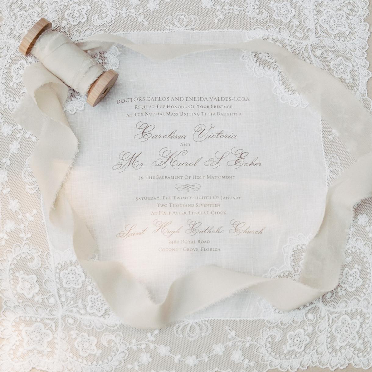 Carolina hand designed her wedding invites