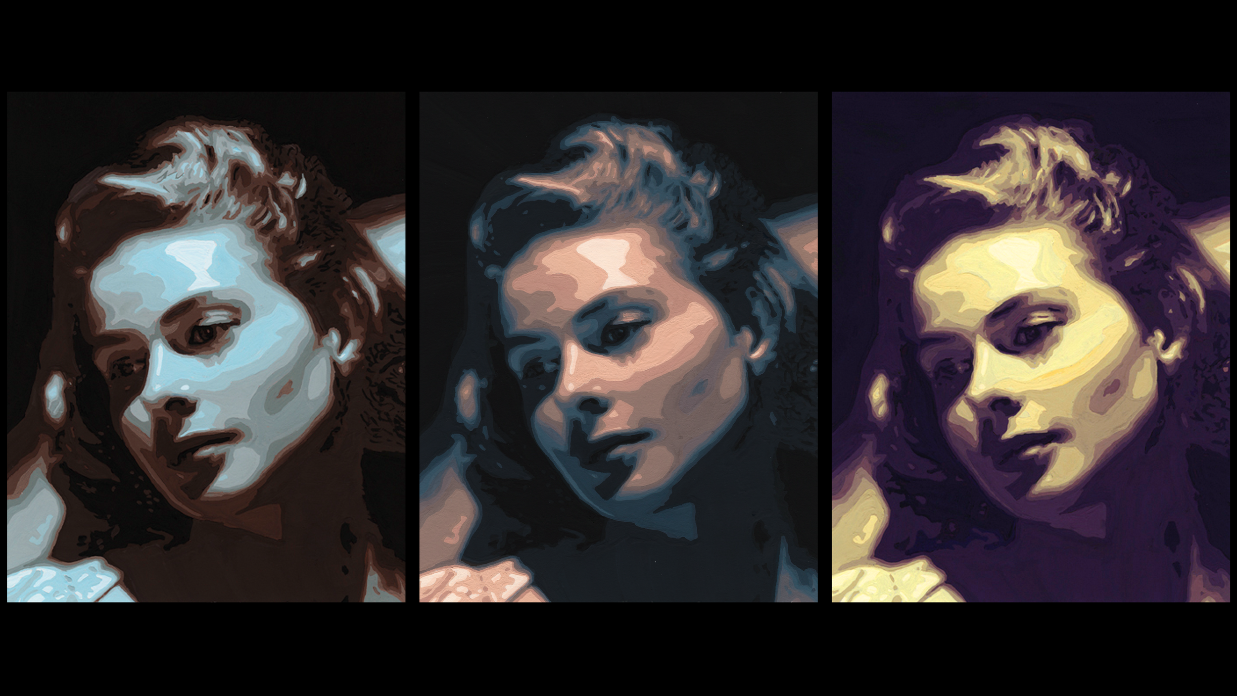 Created in Color & Design class at the Academy of Art.  Gouache triptych of Ingrid Bergman portrait, using cool-to-warm and warm-to-cool color palettes. June 2009.