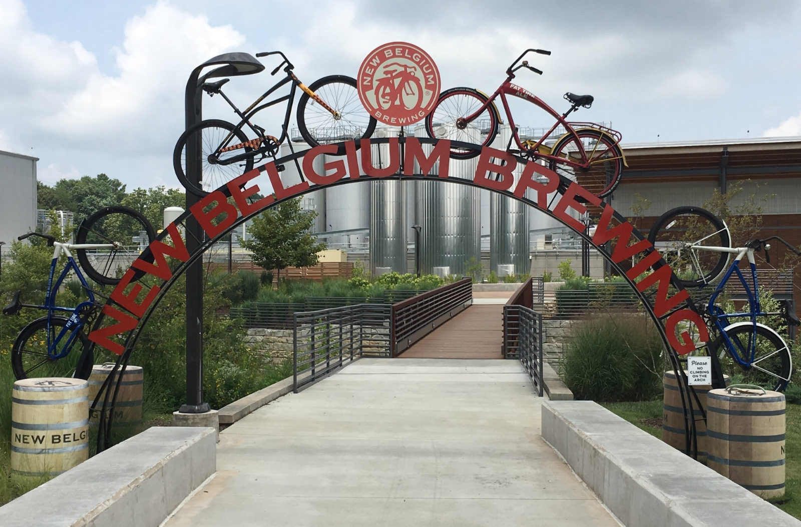The bicycle entrance arch leading to the New Belgium production facility and offices.
