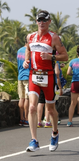 Dave racing IM Kona, HI 2015, his 11th Qualification in 12 years as a triathlete