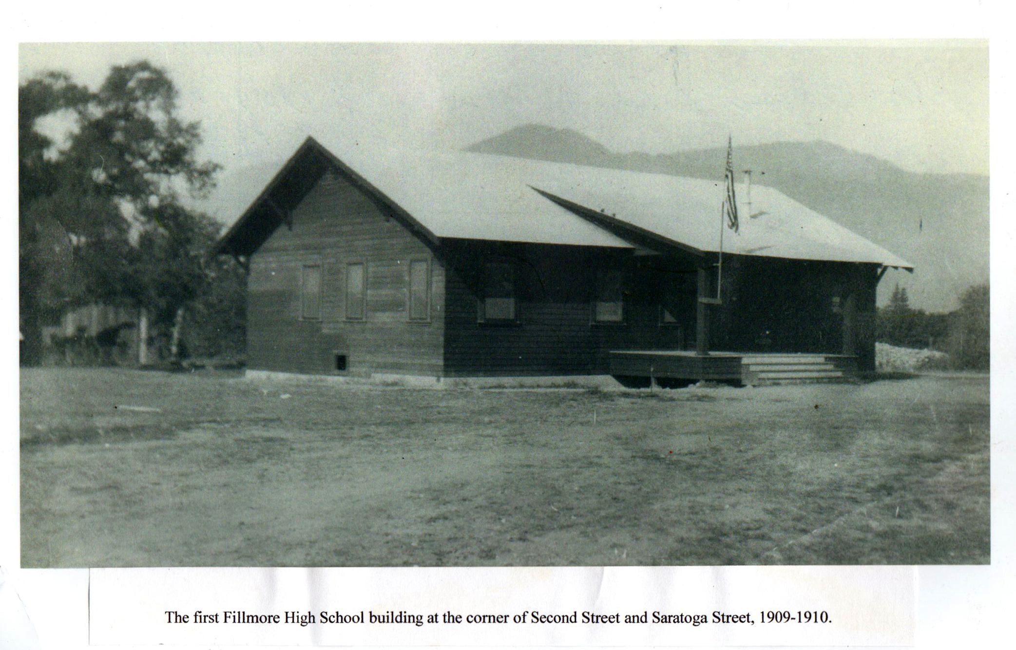 The first Fillmore High School building at the corner of Second Street and Saratoga Street, 1909-1910.