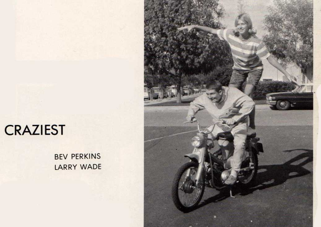 """From the 1966 yearbook. Bev Perkins and Larry Wade voted Senior Class """"Craziest."""""""