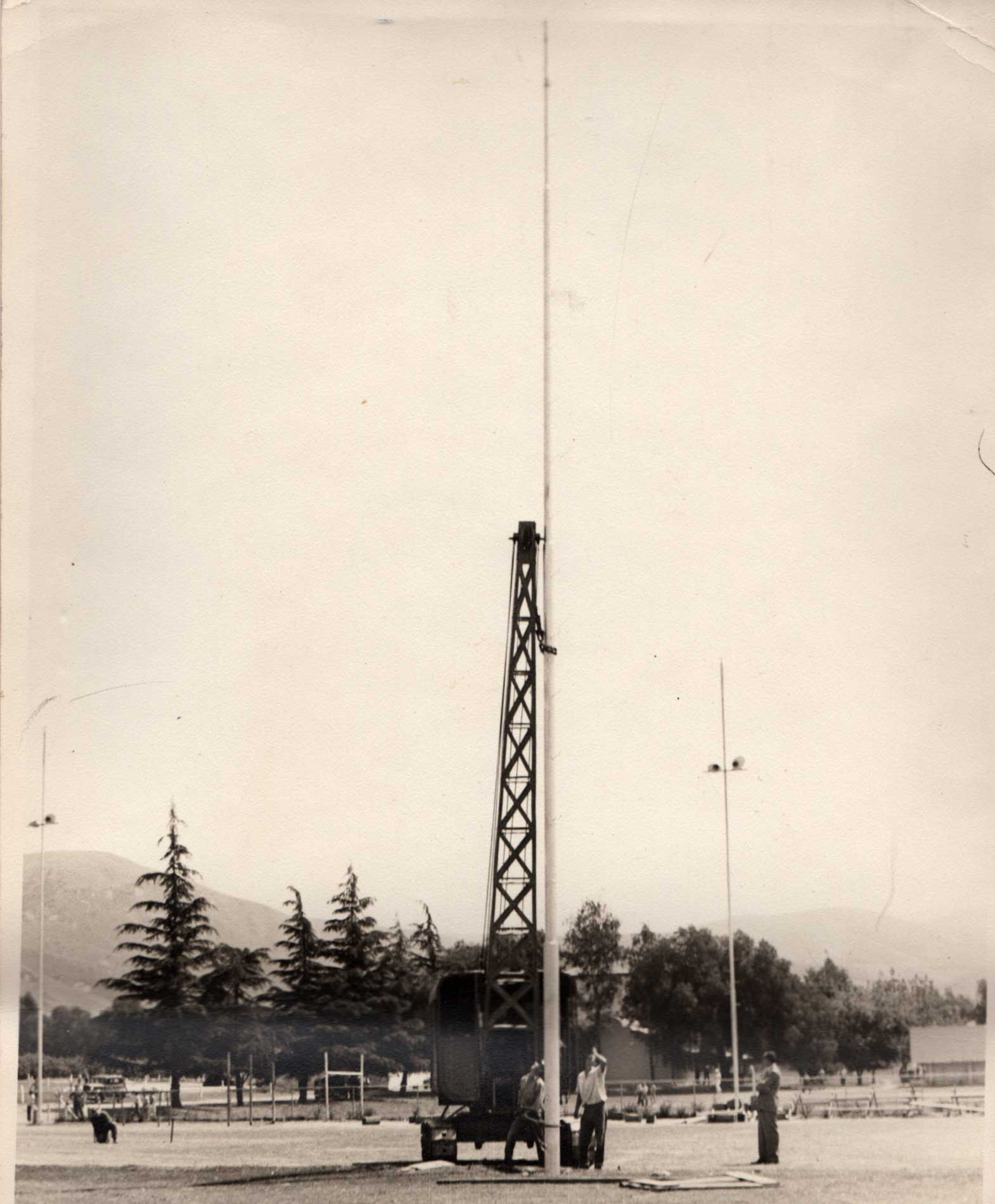 Photo circa 1941. Fillmore High football field lights being installed.