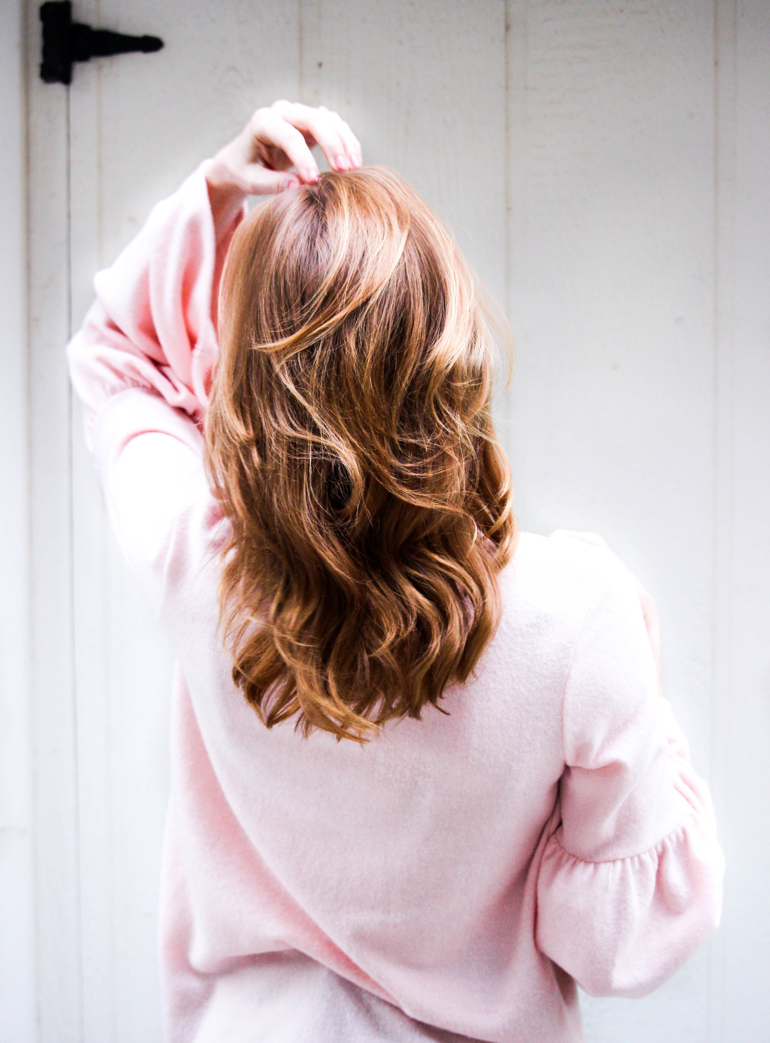 back view woman with shiny brown hair