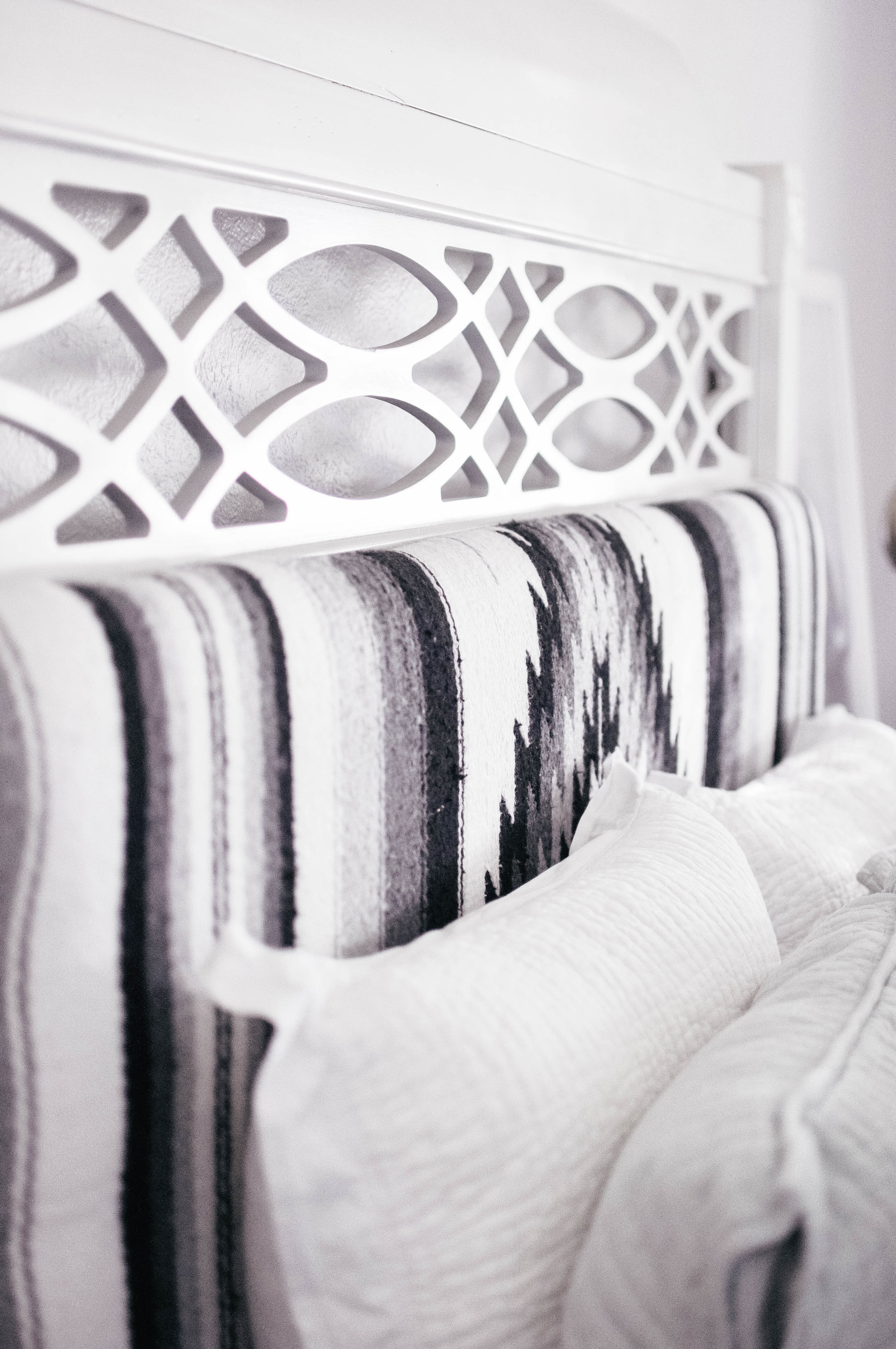black and white mexican blanket headboard