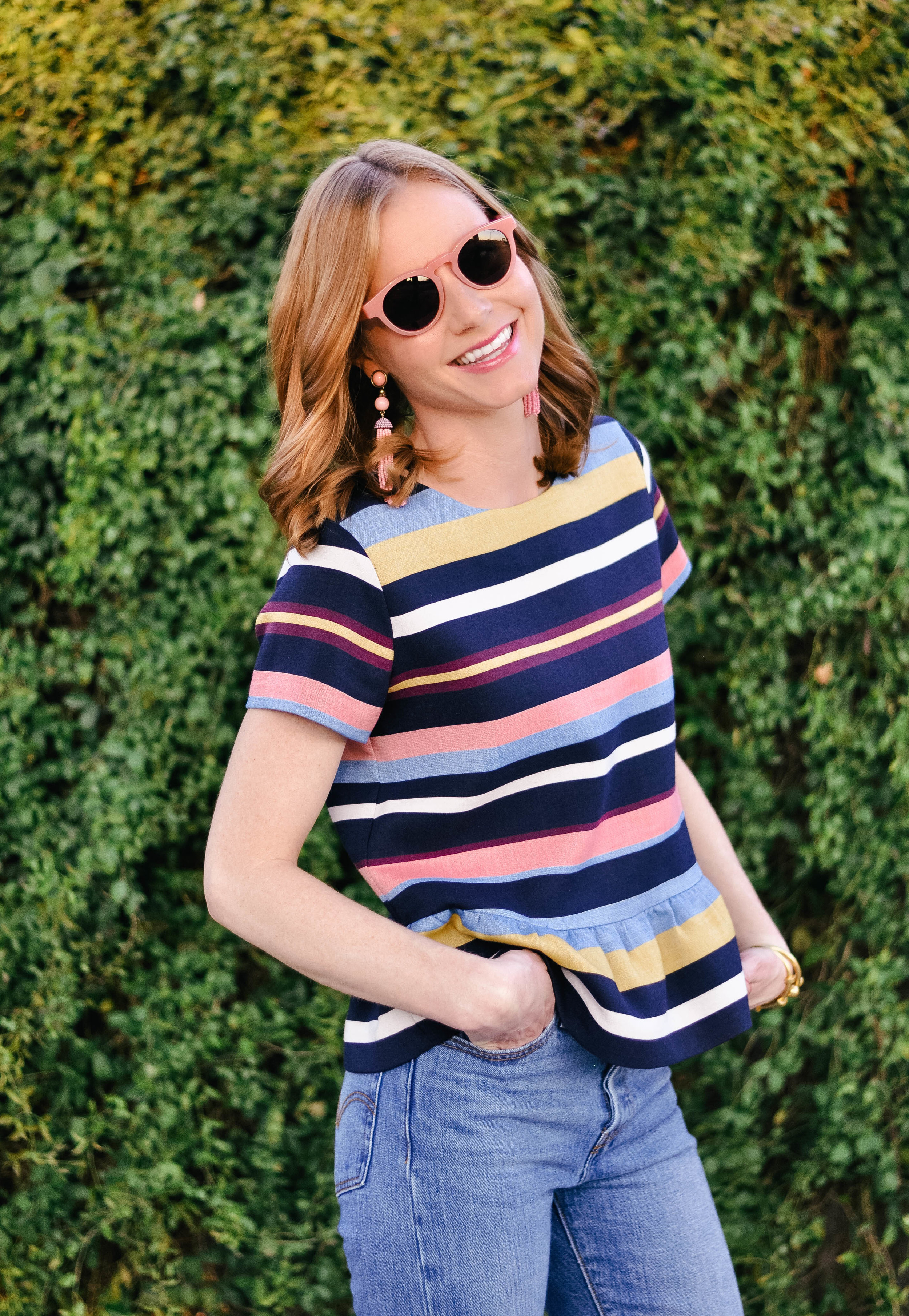 Women's Pink Suglasses with Cute Striped Top